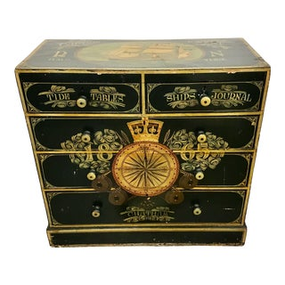 19th Century English Painted Captains Chest For Sale