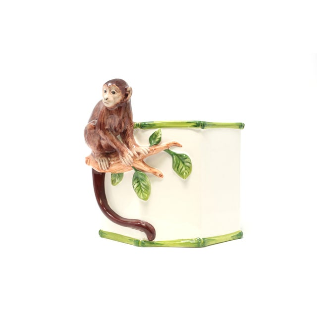 Octagonal Ceramic Planter With Monkey and Bamboo - Made in Italy For Sale - Image 11 of 11