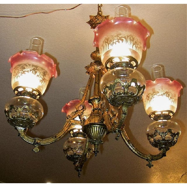 Traditional 19c Pair of Bradley and Hubbard Gold Leaf 4 Arm Chandeliers For Sale - Image 3 of 13