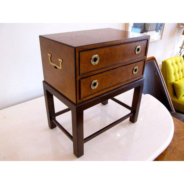 A miniature chest with brass handles and classic hardware by John Widdicomb. Made in the 1960s
