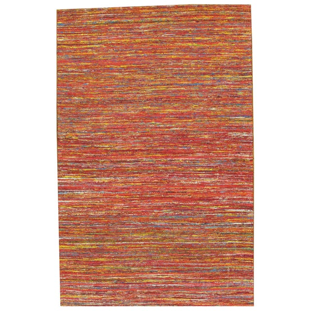 Pasargad Modern Collection Red Silk Rug - 6' x 9' - Image 1 of 3
