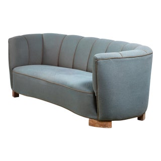 Large 1940s Danish Sofa With Petrol Upholstery For Sale