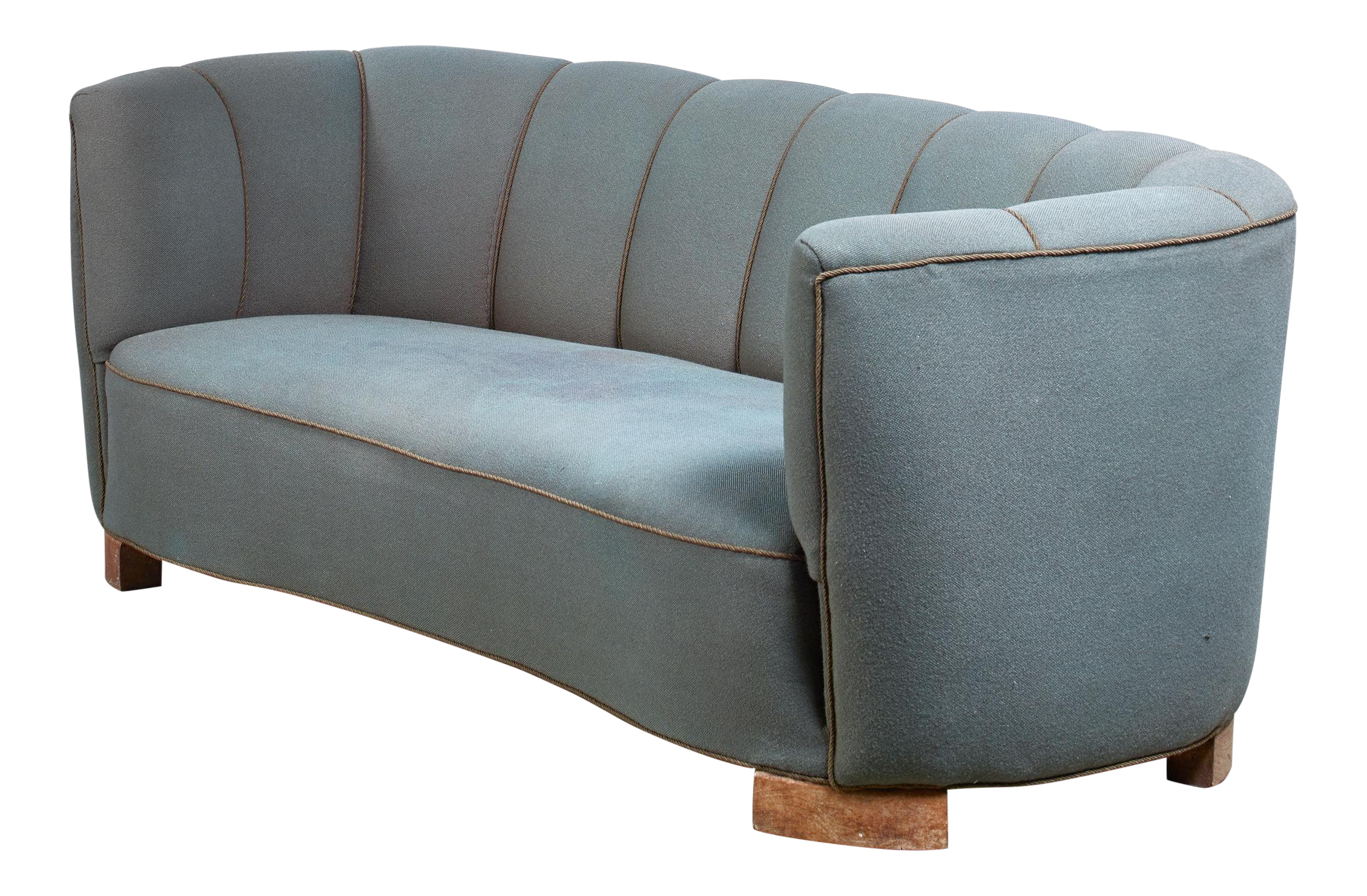 Lovely Large 1940s Danish Sofa With Petrol Upholstery | DECASO