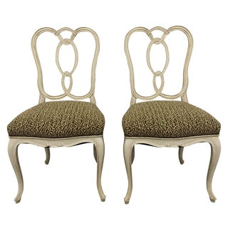 Vintage Cream Wood Ribbon-Back Dining Side Chairs With Upholstered Seat - a Pair