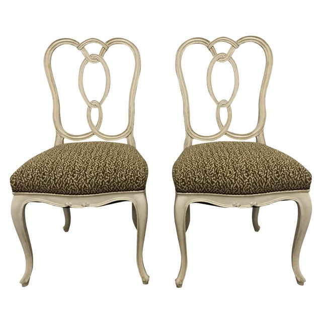 Vintage Cream Wood Ribbon-Back Dining Side Chairs With Upholstered Seat - a Pair - Image 1 of 9