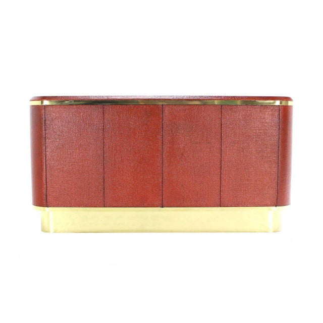 Early 20th Century Grass Cloth Brass Credenza or Cabinet or Sideboard Red Brick Color For Sale - Image 5 of 8