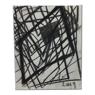 Margaret Tucker Black and White Abstract #1 in Acrylic Frame For Sale
