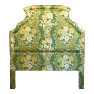Hollywood Regency Designer Made Custom Chintz Floral Full- Sized Headboard For Sale
