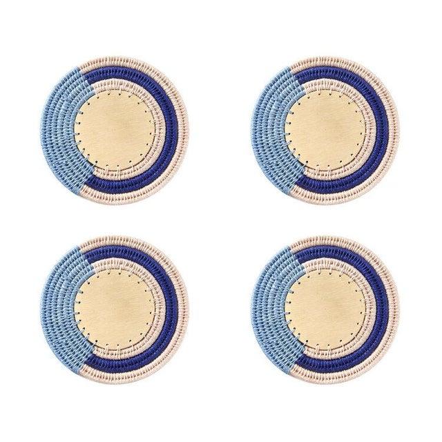 Round Stripe Coasters Denim/blush & Cobalt - Set of 4 For Sale - Image 4 of 4