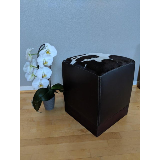Mediterranean Modern Leather & Hide Low Stool For Sale - Image 3 of 6