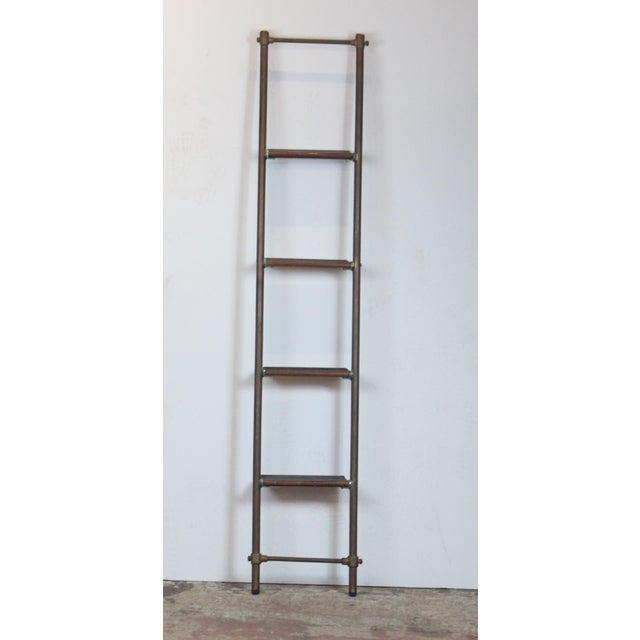 Brass English Brass and Mahogany Library Ladder For Sale - Image 7 of 7