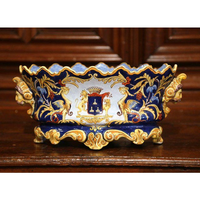 Mid-19th Century Italian Painted Ceramic Oval Planter With Crest and Cherubs For Sale In Dallas - Image 6 of 12