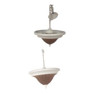 1970s Americana F Ramond Light Pendants - 2 Pieces, 3 Lights For Sale