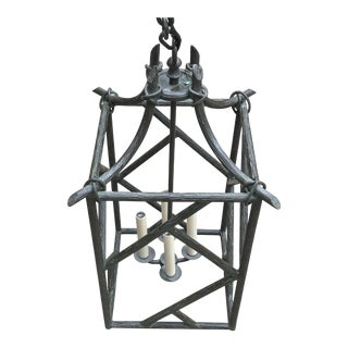 Traditional Faux Bois Lantern For Sale