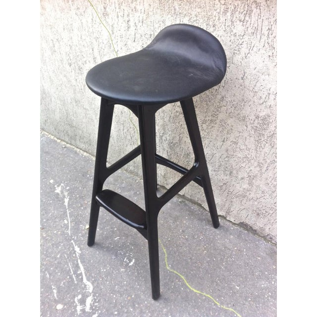 Mid-Century Modern Erik Buck Rare Set of 8 Bar Stools For Sale - Image 3 of 4