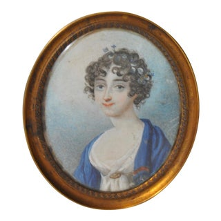 19th C. Miniature Portrait of Young Woman With Flowers in Her Hair Painting For Sale