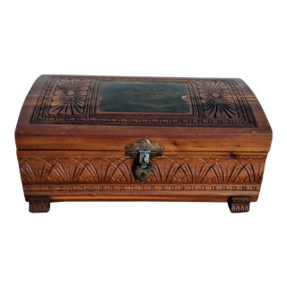 Vintage Carved Wood & Decoupage Jewelry Box For Sale
