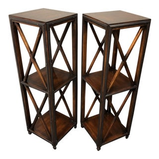 Traditiona Wood and Metal Pedestals/Bookcases - a Pair