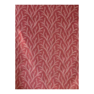 Jane Shelton Screen Print Linen Fabric Holly 3 1/2 Yards For Sale