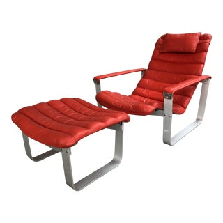 Mid Century Modern Space Age Red Leather and Metal Adjustable Lounge Chair and Ottoman by Ilmari Lappalainen for Asko Contemporary Danish For Sale