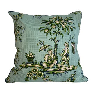 Blue & Green Chinoiserie Pillow With Navy Micro-Welt For Sale