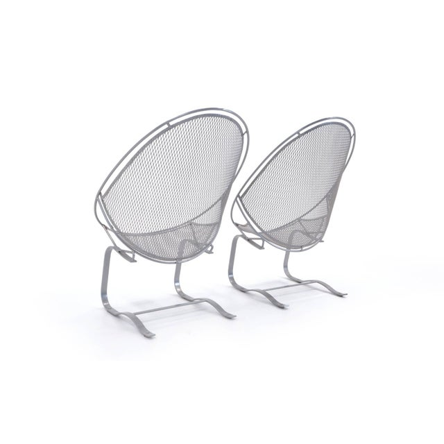 Metal John Salterini High Back Patio Lounge Chairs With Footrests - a Pair For Sale - Image 7 of 11