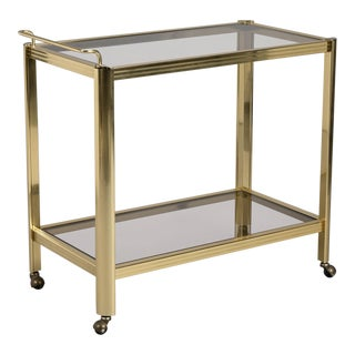 Two-Tier Brass and Glass Mid-Century Bar Trolley For Sale