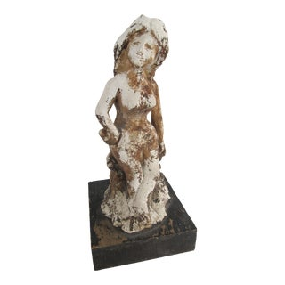 Vintage Clay Nude Sculpture For Sale