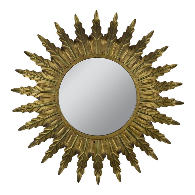 Gilt Metal Sunburst Mirror With Radiating Leaves and Traces of Green - Image 1 of 6