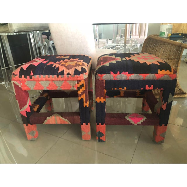 Vintage pair of kilim rug upholstered boho stools benches ottomans. May have slight color variations due to the vintage...