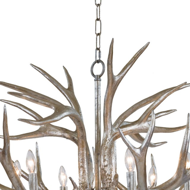 Traditional Antler Chandelier in Ambered Silver Leaf For Sale - Image 3 of 7