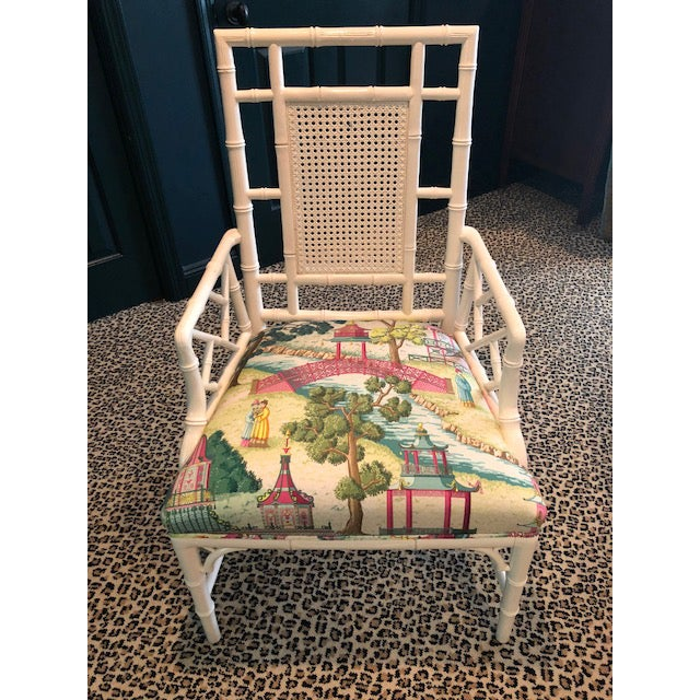 Turquoise Chinese Chippendale Chair With Manuel Canovas Fabric Seat For Sale - Image 8 of 8