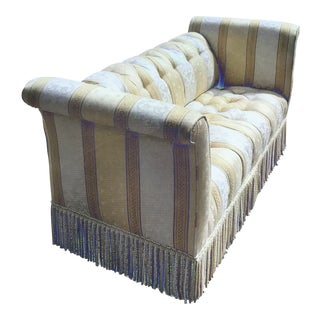 Gumps San Francisco Roll Back/Arms Fringed Tufted Settee For Sale
