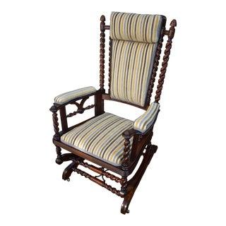 1880s Vintage George Hunzinger Barley Twist Walnut Platform Rocker Rocking Chair For Sale