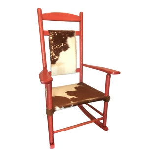 1910s Vintage Red Rocker Chair For Sale