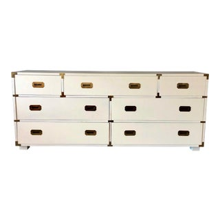 Vintage Seven Drawer White Lacquered Lane Campaign Chest For Sale