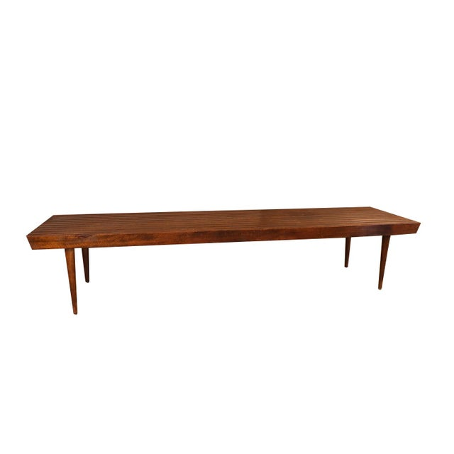 Brown Extra Long Mid Century Slatted Wood Bench Coffee Table George Nelson Style For Sale - Image 8 of 12