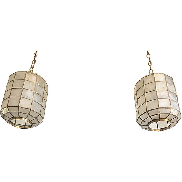 Capiz Shell Lanterns - a Pair For Sale - Image 4 of 9