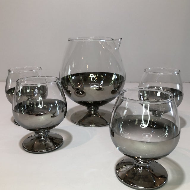 Mid Century Platinum Ombre Decanter and Snifter Glasses - Set of Five For Sale - Image 4 of 9