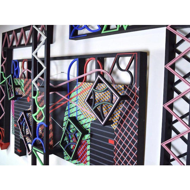 """1990s 1991 Contemporary Geometric Polychrome Wood Canvas Wall Sculpture, """"Latticed Planes Two"""" For Sale - Image 5 of 6"""