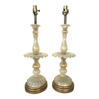 1950s Large Barovier & Toso Murano Blown Glass Table Lamps - a Pair For Sale