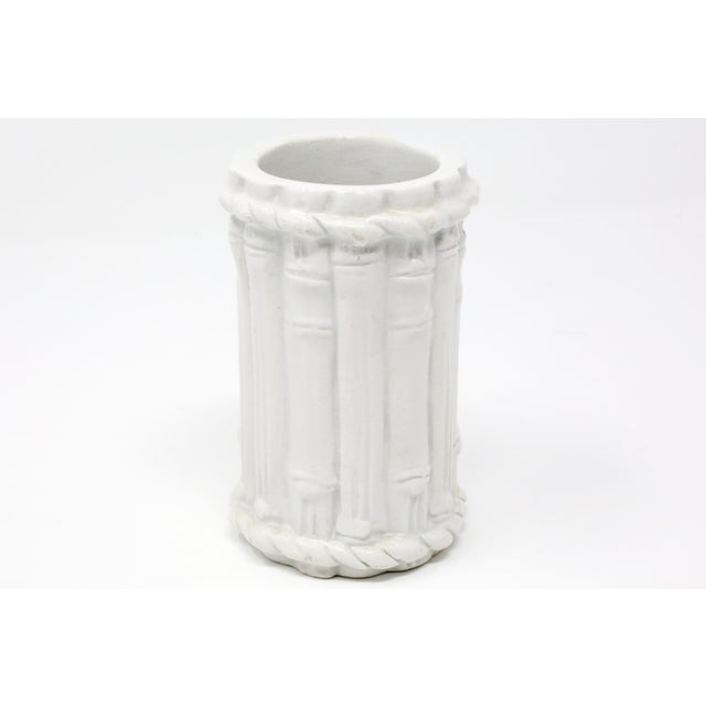Vintage Ceramic Bamboo Motif Vase Made in Italy For Sale - Image 4 of 9