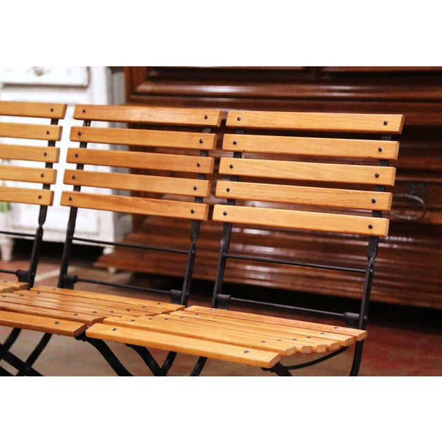 2000 - 2009 Painted Wrought Iron and Teak Wood Folding Garden Chairs, Set of Four For Sale - Image 5 of 13