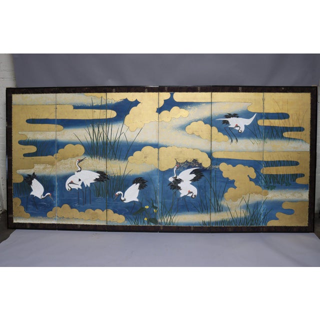 Paper Six Panel Blue and Gold Crane Scene Japanese Screen For Sale - Image 7 of 7