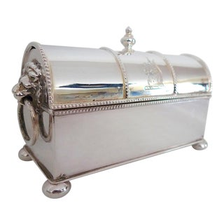 Late 19th Century English Sheffield Silver Plated Casket Double Inkwell For Sale