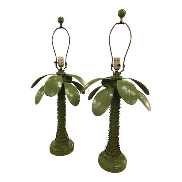 Vintage Tropical Green Metal Tole Palm Leaves Leaf Tree Table Lamps - a Pair For Sale