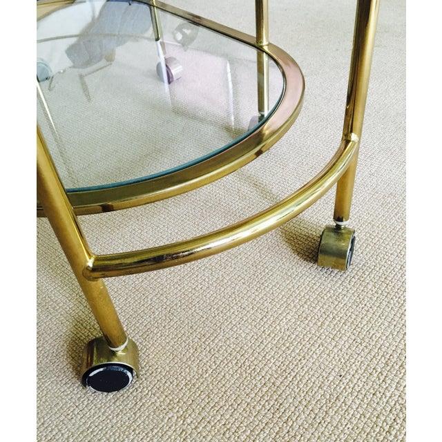 Mid Century Bar Cart Brass Swivel Triple Tiered - Image 9 of 11