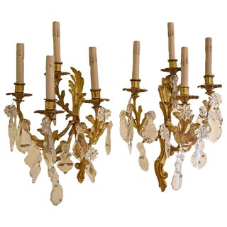 French Bronze and Crystal Sconces - A Pair