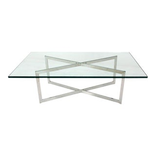 Mid Century Modern Stainless Chrome X-Base Coffee Table with Glass Top For Sale