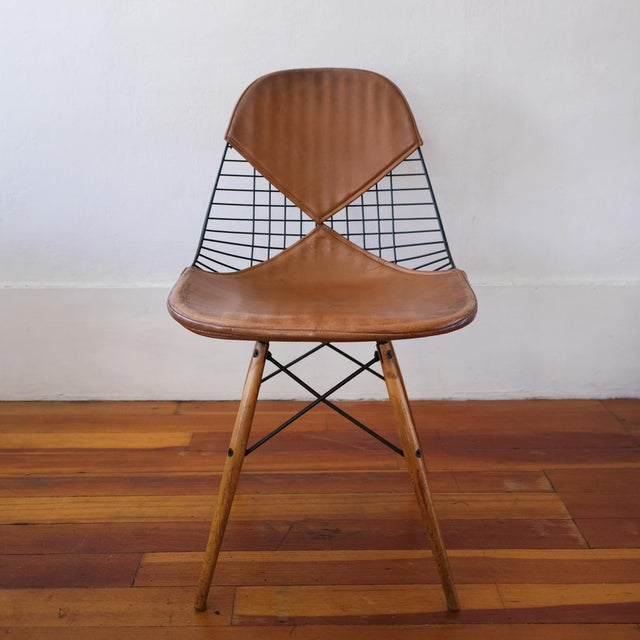 1950s Eames Dkw-2 Dowel Wire Chair With Leather Bikini Cover For Sale - Image 5 of 13